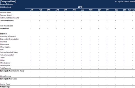 income statement excel model template eloquens