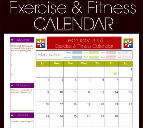 fitness calendar template 9 fitness calendar templates excel templates