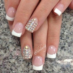 French tips with diamond accent nails   Nails