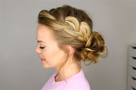 how to have a bun with a plait wrapped around it french braid into messy bun