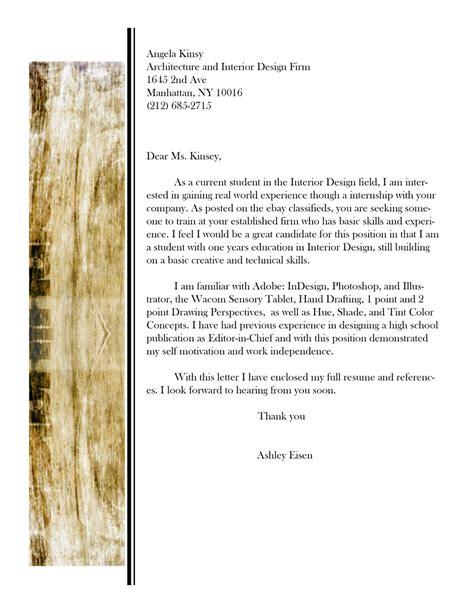 cover letter interior design exle assistant interior design intern resume template