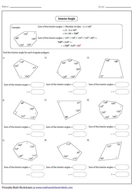 Exterior Angles Worksheet by Interior And Exterior Angles Worksheet Worksheets