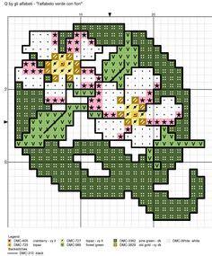 fiore con la q alfabeto verde con fiori m alfabeti a punto croce