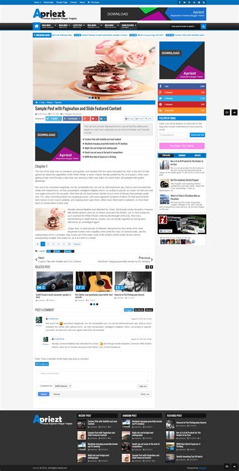 blogger themes with menu apriezt responsive magazine news blogger theme by