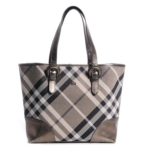 Burberry Byron Tote by Burberry Shimmer Check Byron Tote Silver 78233