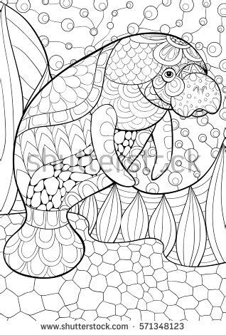 sea cow coloring page adult coloring page cow art style stock vector 624968327