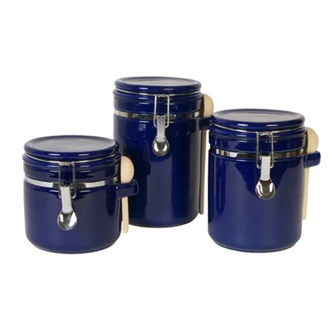 Cobalt Blue Kitchen Canisters Sensations Ii 3 Piece Canister Set Cobalt Kitchen