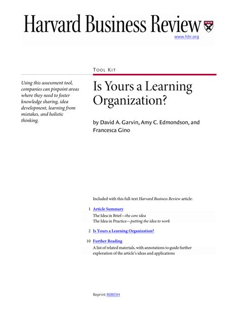 Harvard Mba Oath Text by Is Yours A Learning Organization Pdf Available