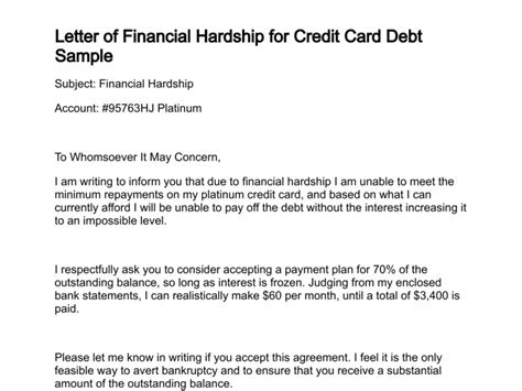 Letter Of Financial Hardship Financial Hardship Letter Template