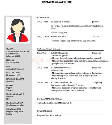 Curriculum Vitae Format Doc File Bahasa Indonesia contoh cv daftar riwayat hidup pdf doc layout i