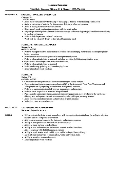Forklift Operator Description For Resume by Forklift Operator Description For Resume Resume