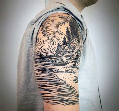nature quarter sleeve tattoo 80 woodcut tattoo designs for men engraved ink ideas