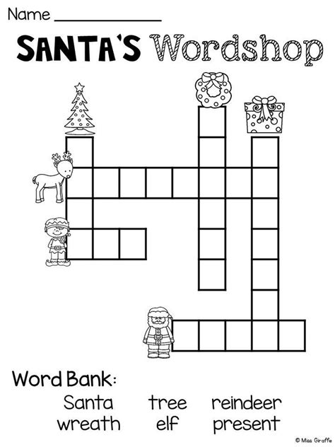 easy crossword puzzles for kindergarten free christmas worksheets that are a lot of fun christmas
