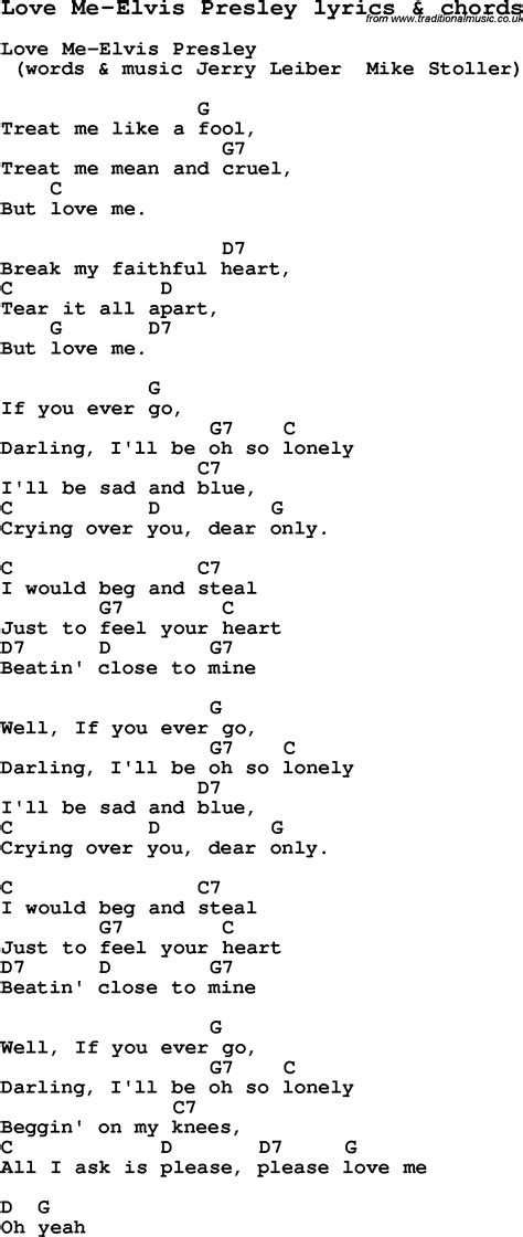 printable elvis lyrics love song lyrics for love me elvis presley with chords
