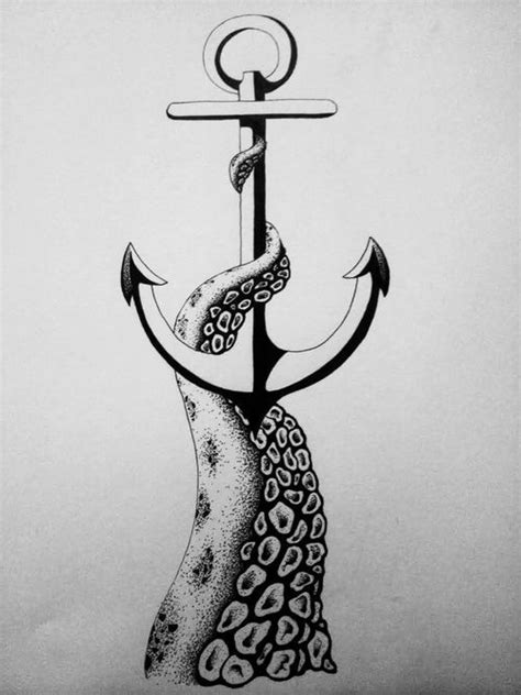 Make Money Online Drawing - anchor tattoo octopus leg sketch drawing design idea free training video will show you