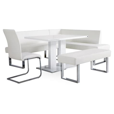 white bench table armen living amanda 5 piece corner nook dining set with
