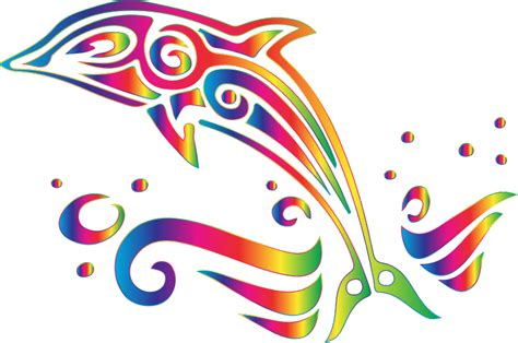 clipart chromatic tribal dolphin 7 no background
