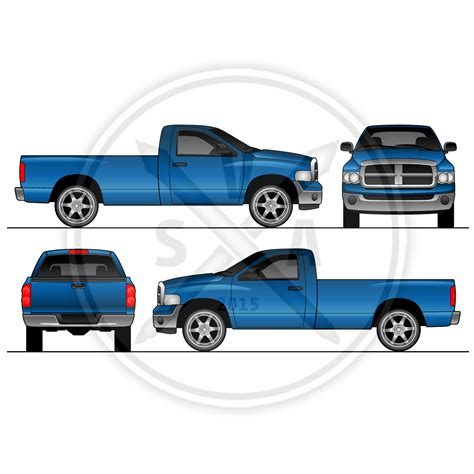 Dodge Ram Regular Cab Design Template Stock Vector Art Dodge Ram Wrap Template