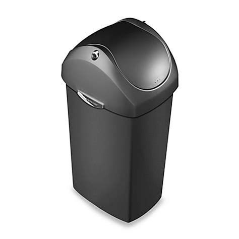 simplehuman swing top trash can simplehuman 174 plastic swing lid 60 liter trash can bed