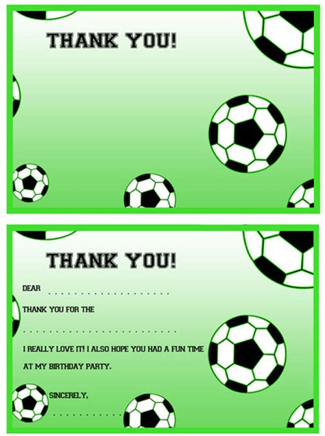 Football Thank You Card Template Free printable soccer thank you notes printable treats