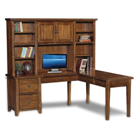 Brown Corner Computer Desk by Rustic Brown Corner Computer Desk With Hutch Cross