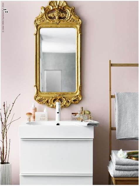gold bathroom mirror contrast an ikea godmorgon bathroom cabinet in a stylish