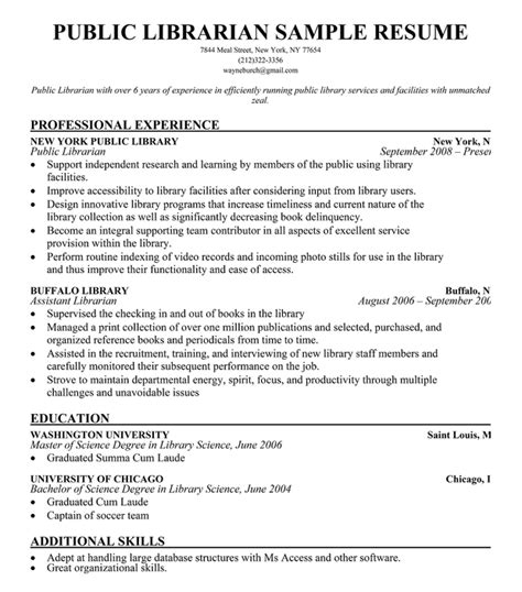 librarian resume template librarian resume sle resumecompanion