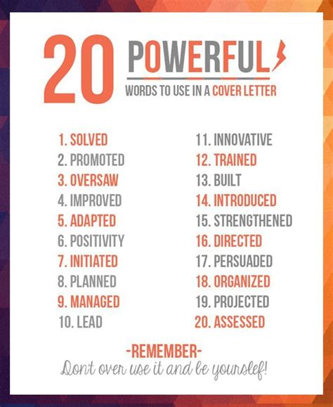 cover letter power words be sure to use some of these 20 powerful words in your