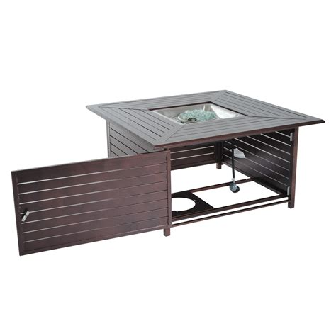 Outdoor Gas Pit Table by Outsunny 45 Quot Slatted Steel Outdoor Propane Gas Pit Table Firepits Outdoor Living Outdoor