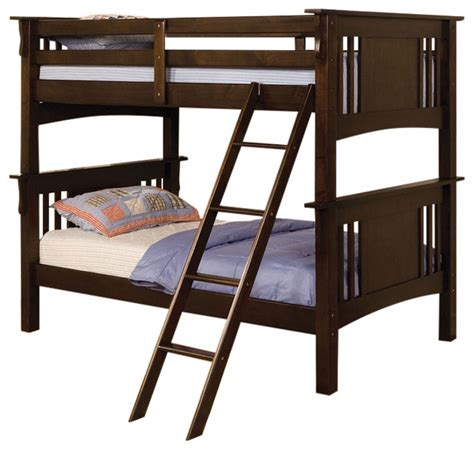 Spring Creek Mission Style Dark Walnut Finish Twin Over Mission Style Bunk Bed