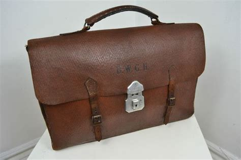 vintage 1940 s made brown leather briefcase