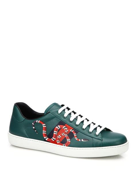 Gucci Print Low Top Sneaker gucci new ace snake print leather low top sneakers in green lyst