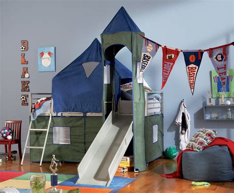 tents for bunk beds boys twin tent bunk bed with slide powell 938 069
