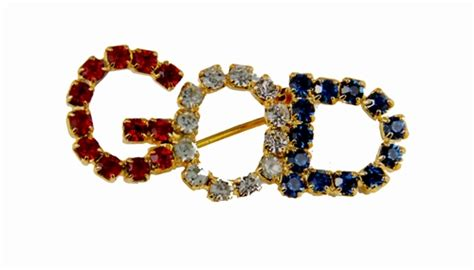 6030100 GOD Rhinestone Brooch Pin Lapel Red White & Blue Brilliant Sparkling   The Quiet Witness
