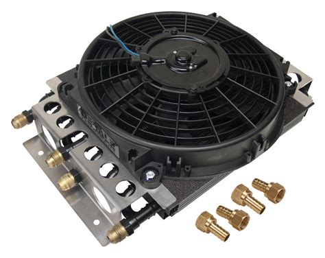 oil cooler with fan derale 15200 fluid cooler and fan 8 8 passenger 11 1 2