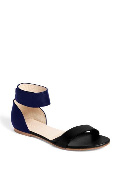 black ankle sandal chlo 233 blue gala ankle flat sandal lyst