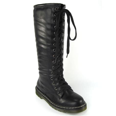 vintage lace up zip patent womens knee high boots