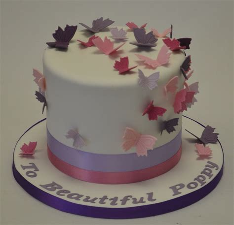 tall  purple  pink butterfly cake baby shower