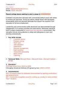 School Leaver Resume Exles by Exle Cv School Leavers Uk Buy Original Essays