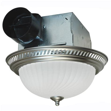 Air King Decorative Nickel 70 Cfm Ceiling Exhaust Fan With Lighted Bathroom Exhaust Fans