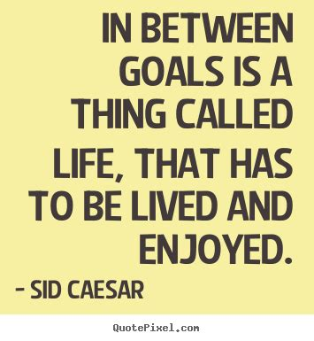 In between goals is a thing called life, that has to.. Sid ...