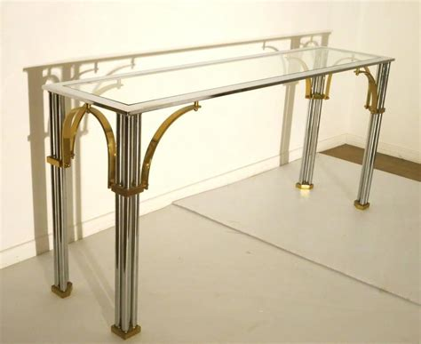 Glass Sofa Tables Sale Striking Chrome And Brass With Glass Top Console Or Sofa