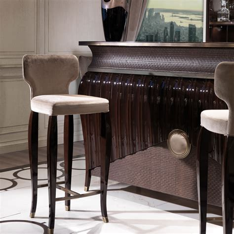 luxury bar stools walnut art deco style velvet bar stool