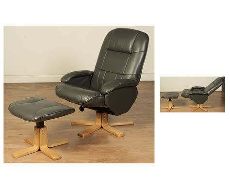 faux leather swivel recliner chair and stool flaxby grey faux leather swivel chair and footstool just