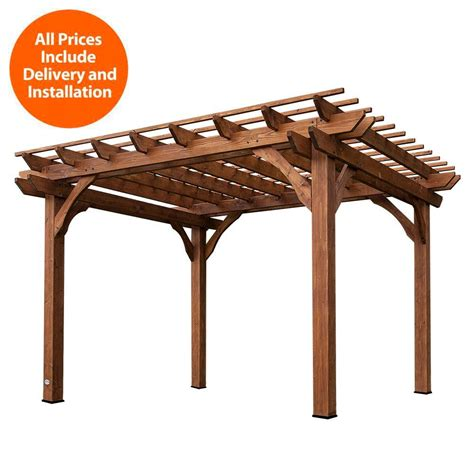 sheds usa installed 10 ft x 12 ft cedar pergola 6214com