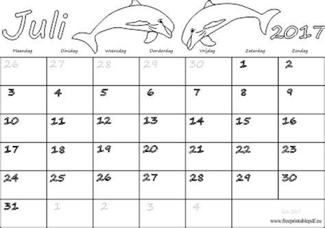 Juli Kalender 2017 Juli 2017 Kalender Pdf Afdruk Gratis Printbare Pdf
