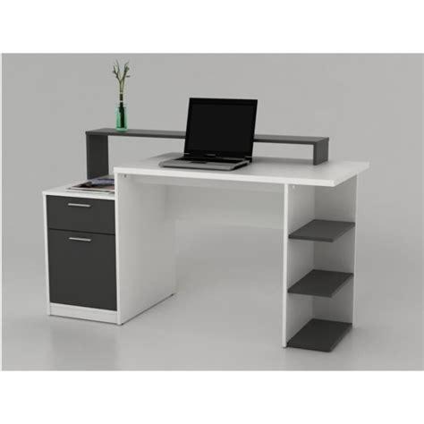 bureau gris blanc bureau avec rangements zacharie blanc et gris achat