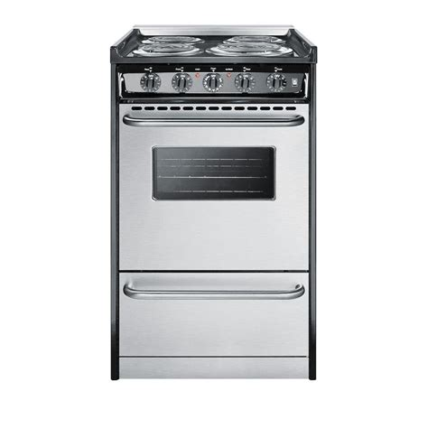 stainless steel range summit appliance 20 in 2 5 cu ft slide in electric range in stainless steel tem110brwy the