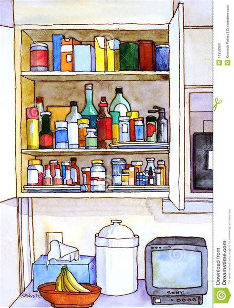 Medicine Cabinet Contents Kitchen Cabinet Revealed Stock Photo Image 11959360