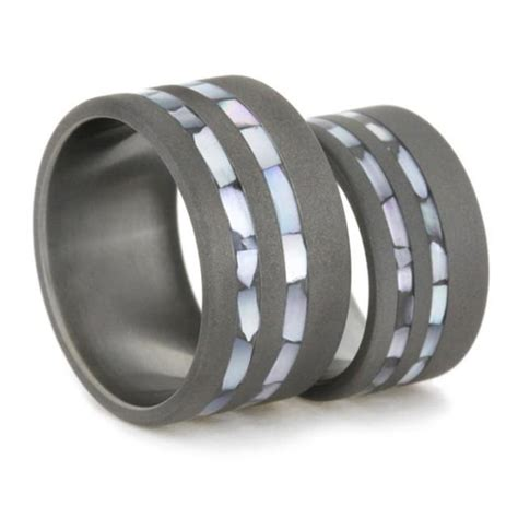or pearl wedding band set his and hers titanium